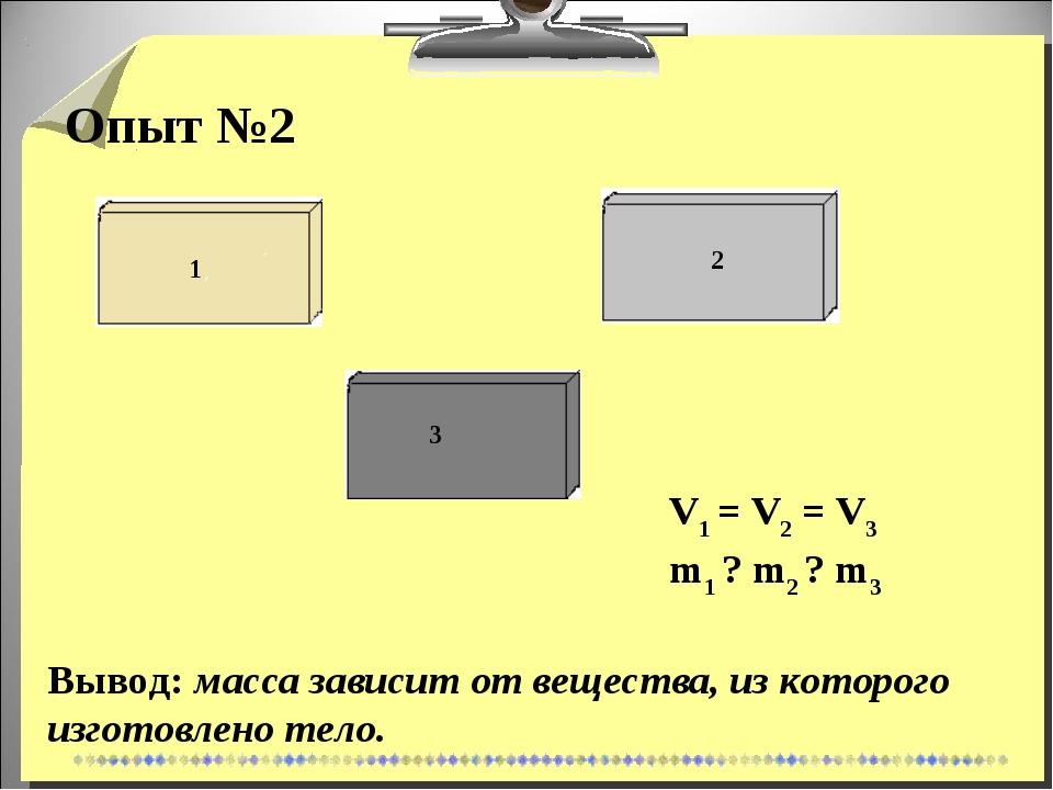 Опыт №2 Вывод: масса зависит от вещества, из которого изготовлено тело. V1 =...