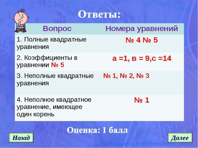 Назад Далее ВопросНомера уравнений 1. Полные квадратные уравнения№ 4 № 5 2....