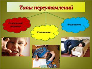 Типы переутомлений Психическое (нервное) Физическое Умственное