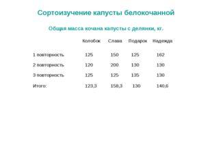Сортоизучение капусты белокочанной Общая масса кочана капусты с делянки, кг.