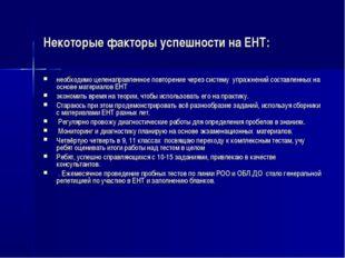 Некоторые факторы успешности на ЕНТ: необходимо целенаправленное повторение ч