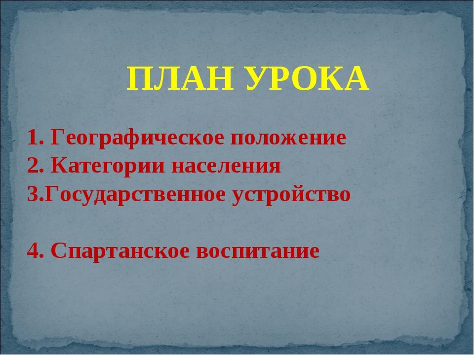 Географическое положение Категории населения Государственное устройство Спар...