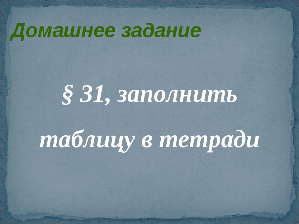 Домашнее задание § 31, заполнить таблицу в тетради