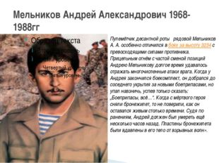 Мельников Андрей Александрович 1968-1988гг