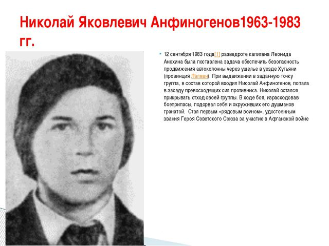 Николай Яковлевич Анфиногенов1963-1983 гг. 12 сентября 1983 года[1]раз...