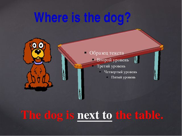 Where is the dog? The dog is next to the table.
