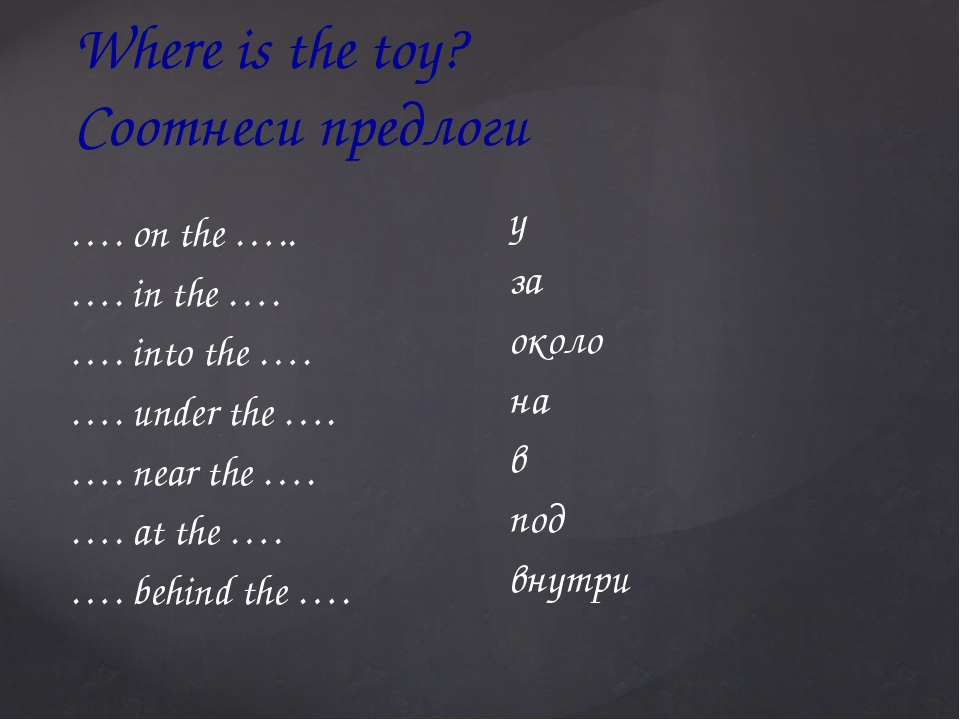 Where is the toy? Соотнеси предлоги …. on the ….. …. in the …. …. into the …....
