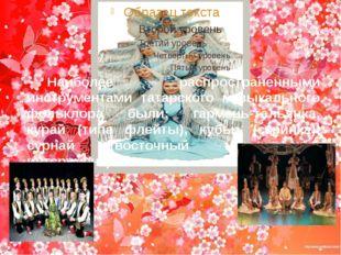 Наиболее распространенными инструментами татарского музыкального фольклора бы