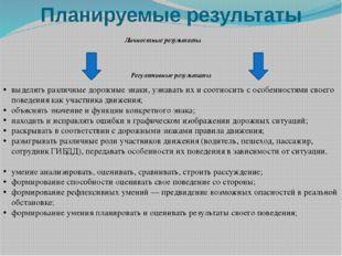 Планируемые результаты Личностные результаты Регулятивные результаты выделять