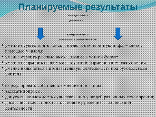 Планируемые результаты Метапредметные результаты Коммуникативные универсальны...