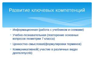 Информационная (работа с учебником и схемами) Учебно-познавательная (повторен