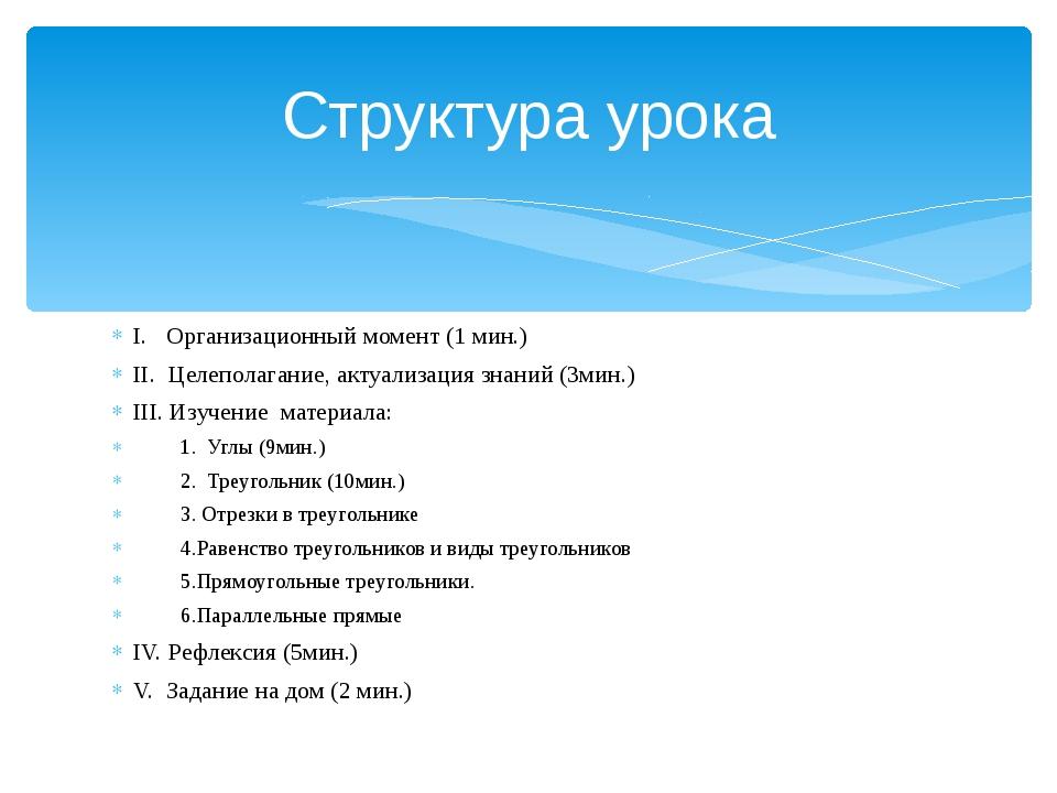 I. Организационный момент (1 мин.) II. Целеполагание, актуализация знаний (3м...