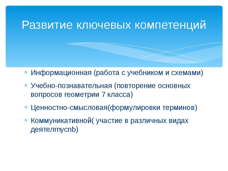 Информационная (работа с учебником и схемами) Учебно-познавательная (повторен...
