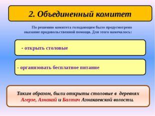 2. Объединенный комитет - открыть столовые По решению комитета голодающим был