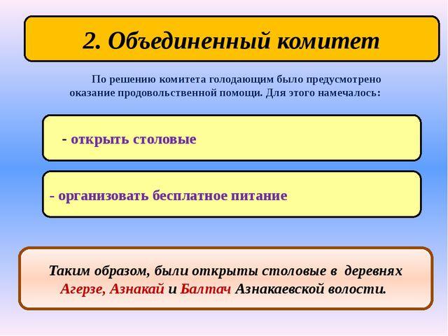 2. Объединенный комитет - открыть столовые По решению комитета голодающим был...