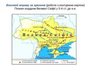 Виконай вправу за зразком (робота з контурною картою) Познач кордони Великої