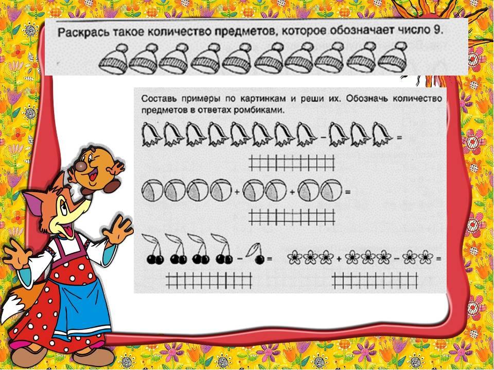 составь примеры по картинкам обозначь количество предметов в ответах овалами нильсен побоялась