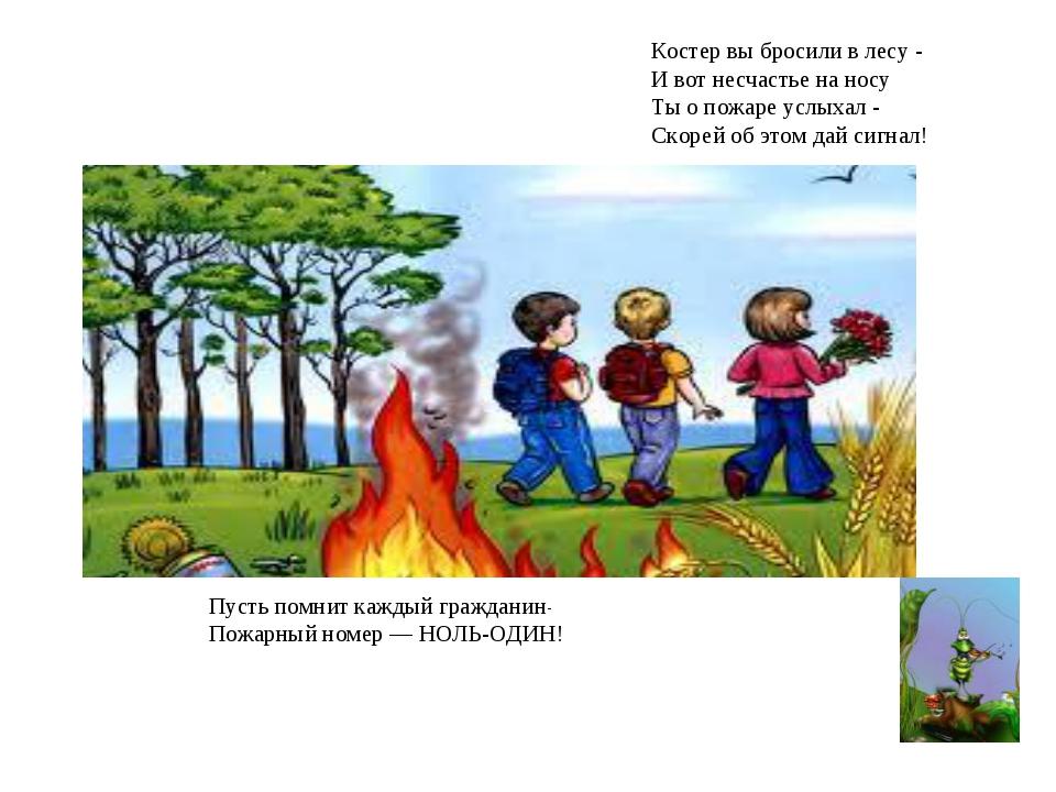 Костер вы бросили в лесу - И вот несчастье на носу Ты о пожаре услыхал - Ско...