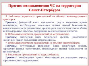 Прогноз возникновения ЧС на территории Санкт-Петербурга 5. Небольшая вероятно