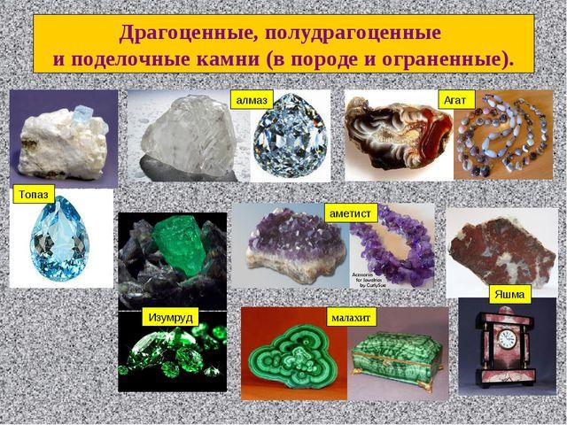 Топаз алмаз малахит Драгоценные, полудрагоценные и поделочные камни (в породе...