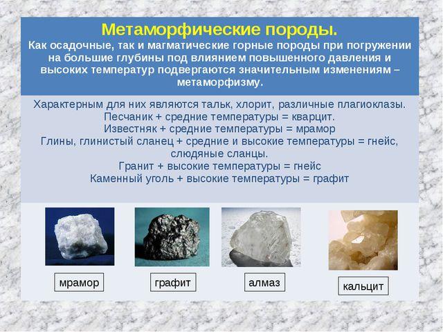 мрамор графит алмаз кальцит Метаморфические породы. Как осадочные, так и магм...