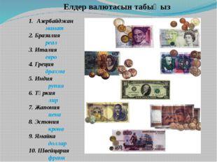 Елдер валютасын табыңыз Азербайджан манат 2. Бразилия реал 3. Италия евро 4.