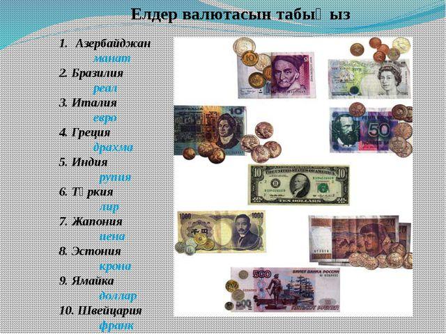 Елдер валютасын табыңыз Азербайджан манат 2. Бразилия реал 3. Италия евро 4....