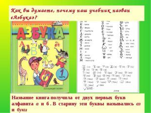 Название книга получила от двух первых букв алфавита а и б . В старину эти бу