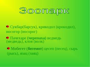 Сукбар(барсук), крикодол (крокодил), носогор (носорог) Пачехаре (черепаха) в
