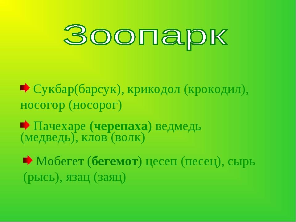 Сукбар(барсук), крикодол (крокодил), носогор (носорог) Пачехаре (черепаха) в...