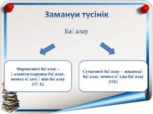 Бағалау Формативті бағалау – қалыптастырушы бағалау, немесе оқыту үшін бағала