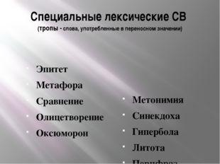 Специальные лексические СВ (тропы - слова, употребленные в переносном значени