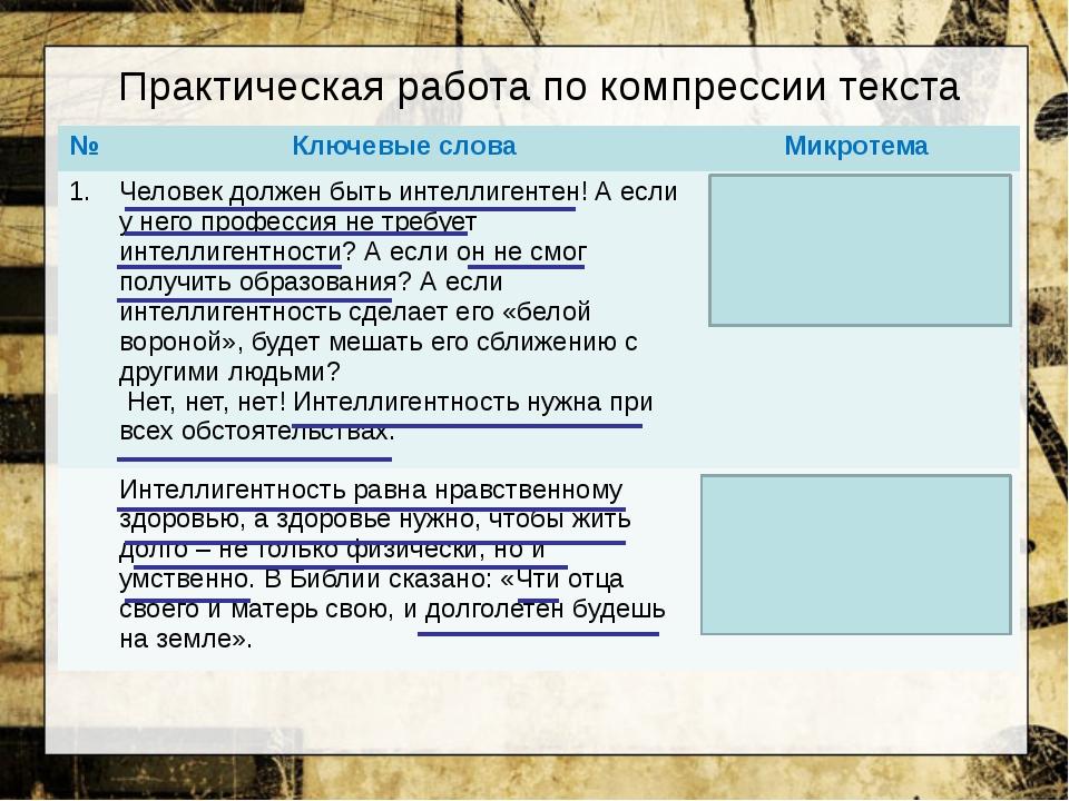 Практическая работа по компрессии текста № Ключевые слова Микротема 1. Челове...