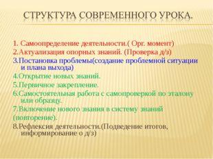 1. Самоопределение деятельности.( Орг. момент) 2.Актуализация опорных знаний.