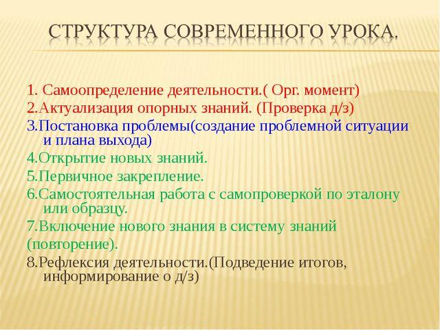 1. Самоопределение деятельности.( Орг. момент) 2.Актуализация опорных знаний....