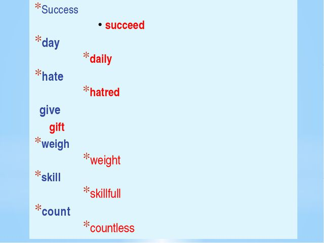 Success succeed day daily hate hatred give 		gift weigh weight skill skillfu...