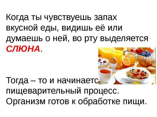 Когда ты чувствуешь запах вкусной еды, видишь её или думаешь о ней, во рту вы...