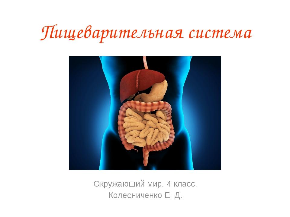 Пищеварительная система Окружающий мир. 4 класс. Колесниченко Е. Д.