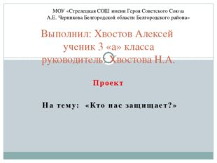 Проект На тему: «Кто нас защищает?» Выполнил: Хвостов Алексей ученик 3 «а» кл