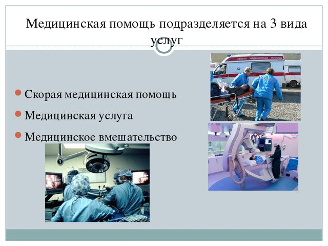 Медицинская помощь подразделяется на 3 вида услуг Скорая медицинская помощь М...