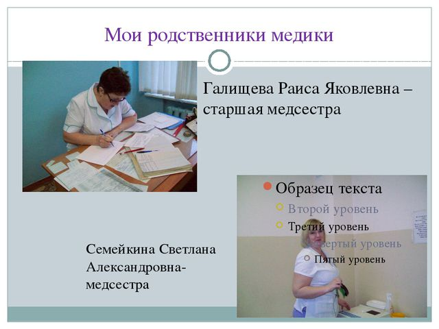 Мои родственники медики Галищева Раиса Яковлевна – старшая медсестра Семейкин...