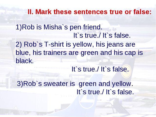 II. Mark these sentences true or false: Rob is Misha`s pen friend. It`s true....