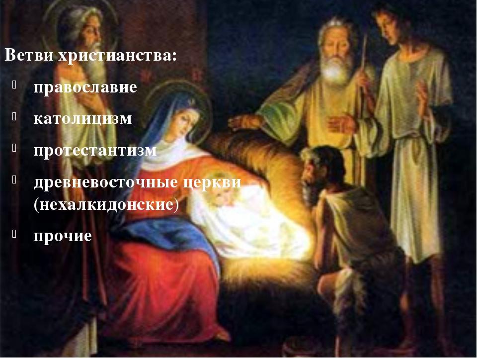 Ветви христианства: православие католицизм протестантизм древневосточные...
