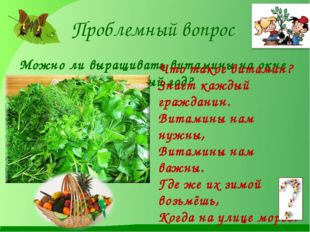 Проблемный вопрос Можно ли выращивать витамины на окне круглый год? Что такое