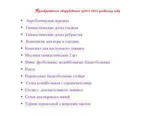 Приобретённое оборудование к2012-2013 учебному году Акробатическая дорожка Ги