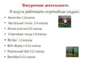 Внеурочная деятельность В школе работают спортивные секции: Баскетбол 1-2клас