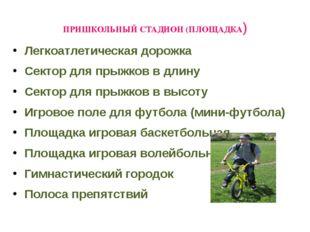ПРИШКОЛЬНЫЙ СТАДИОН (ПЛОЩАДКА) Легкоатлетическая дорожка Сектор для прыжков в