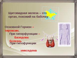 Основной Гормон – тироксин. При гипофункции – микседема При гиперфункции – Ба