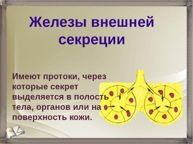Железы внешней секреции Имеют протоки, через которые секрет выделяется в поло...