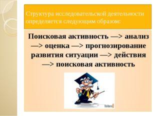 Структура исследовательской деятельности определяется следующим образом: Пои